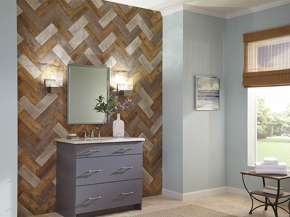 Accent Planks in River Grey, Reclaimed White and Sierra Brown in herringbone pattern