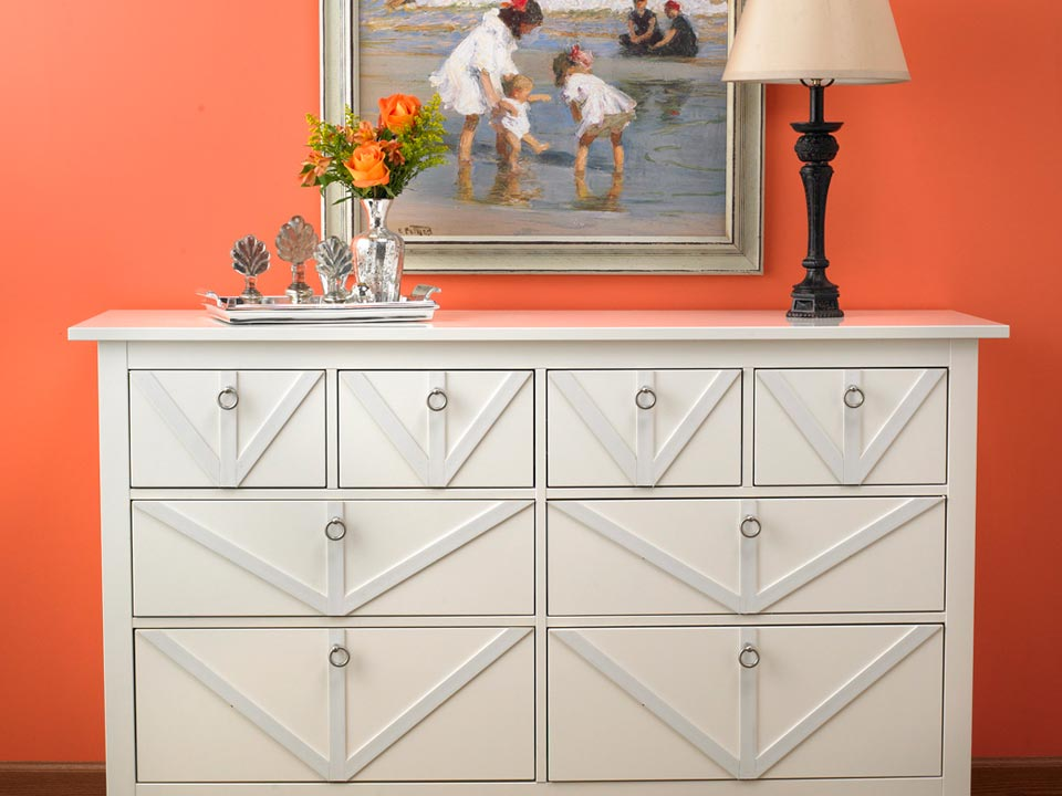 Lattice in Crystal White on dresser